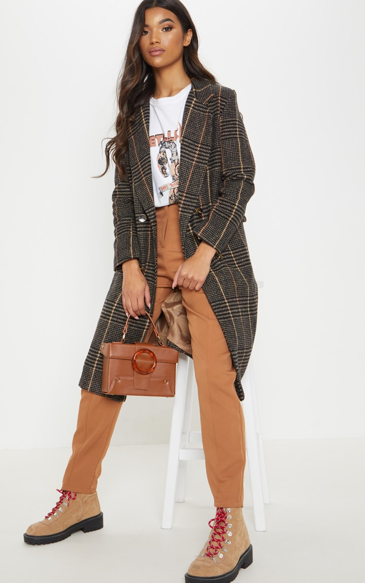 Brown Oversized Check Coat by Prettylittlething