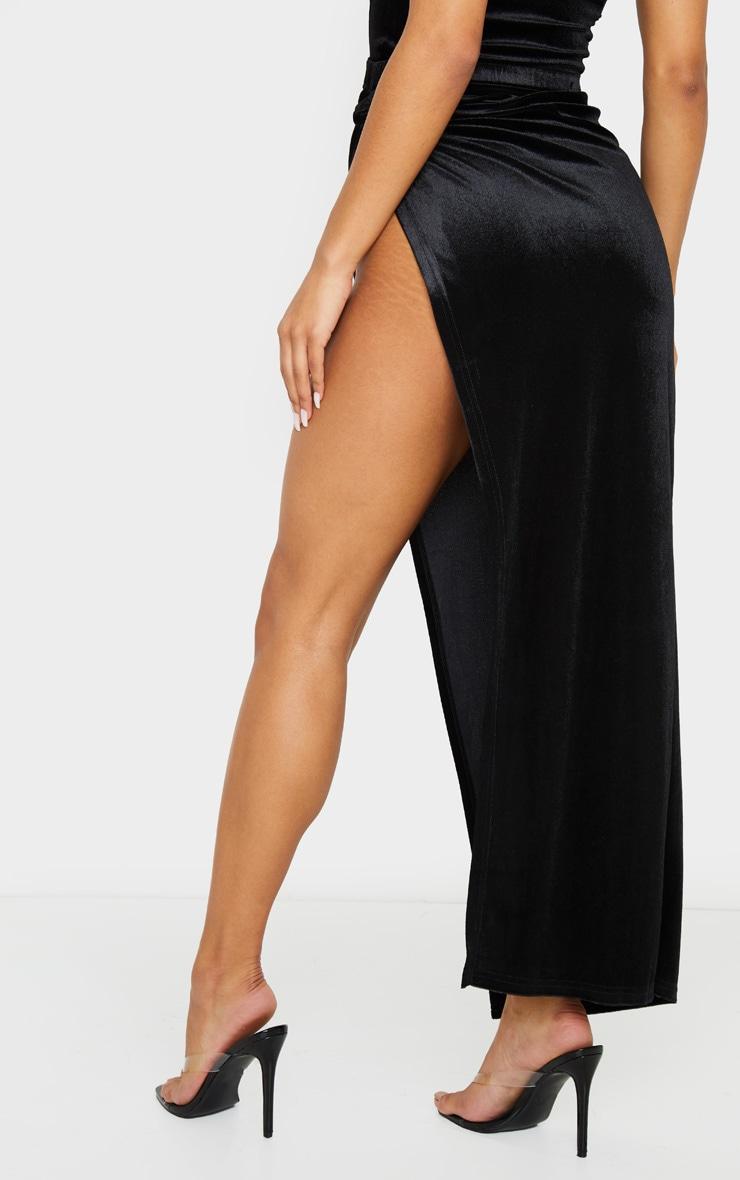Black Velvet Tie Split Side Midi Skirt 4