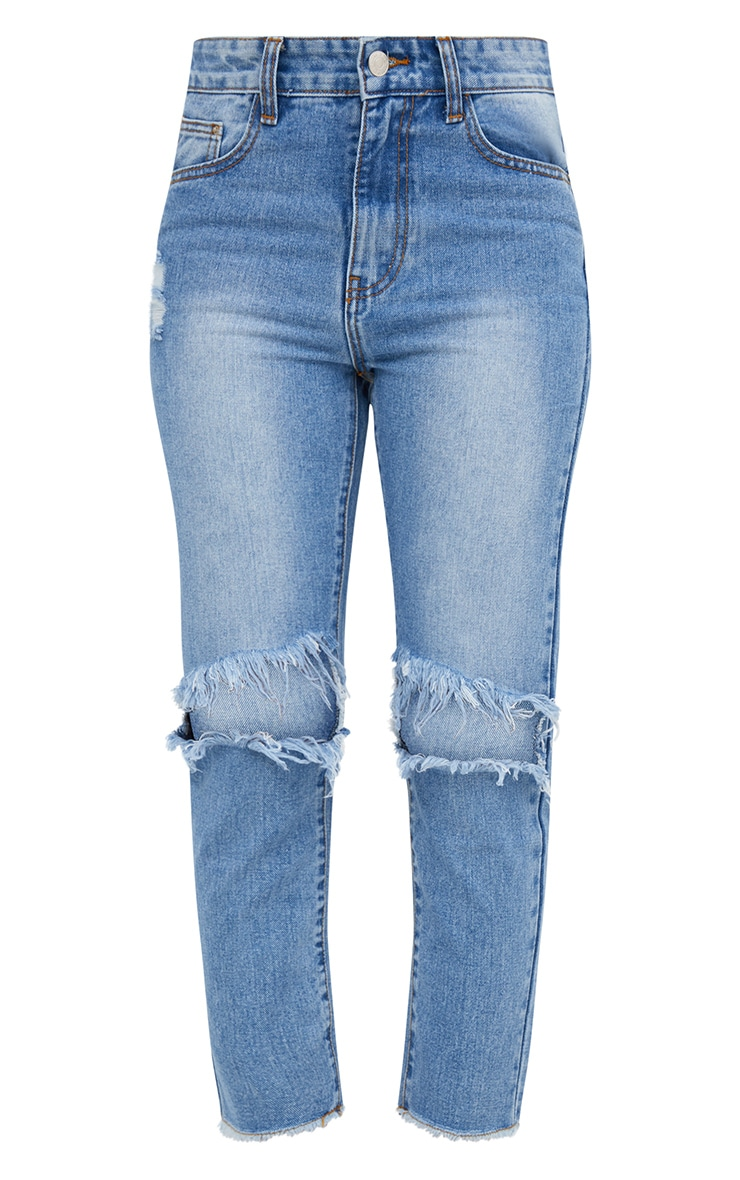 Mid Wash Extreme Knee Rip Slim Jean 4