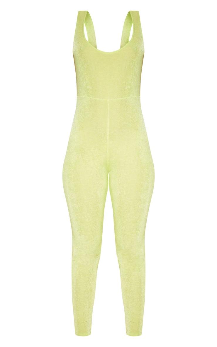 Lime Slinky Ruched Back Jumpsuit 3