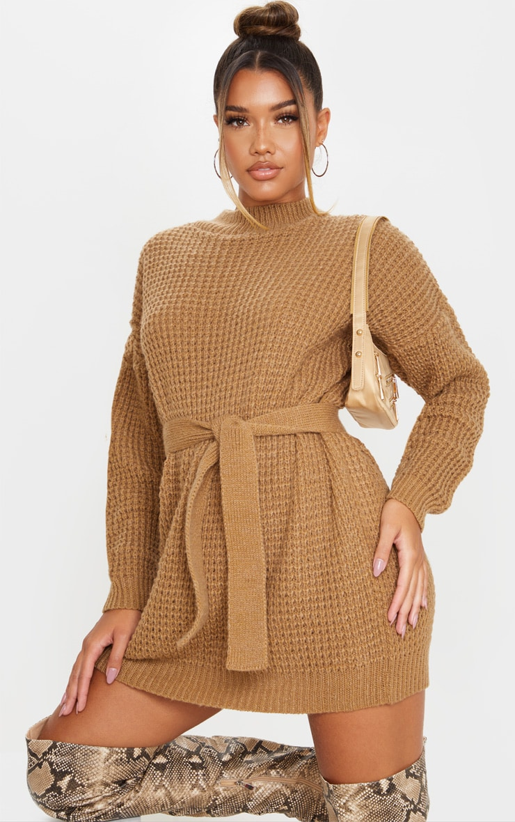 Camel Soft Touch Belted Knitted Sweater Dress 1