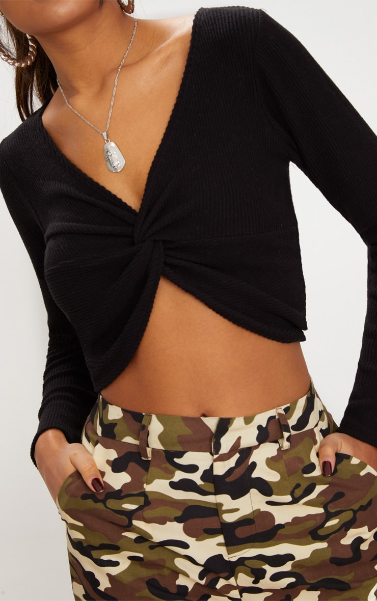 Black Brushed Rib Twist Front Crop Sweater 5