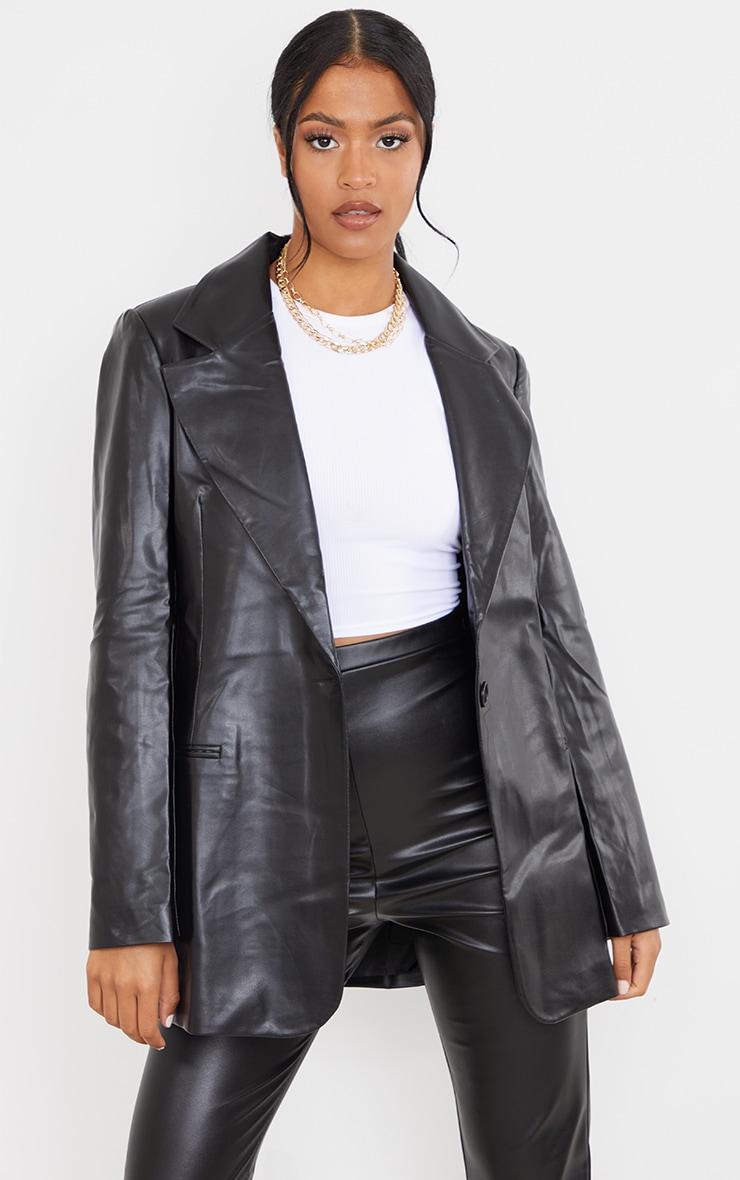 Tall Black Faux Leather Blazer 1
