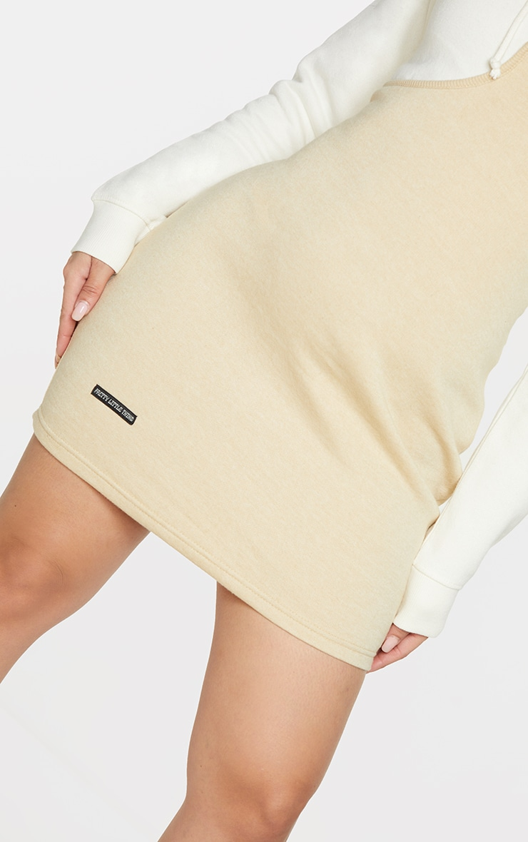 Shape Cream Underbust Detail Hooded Sweatshirt Dress 4