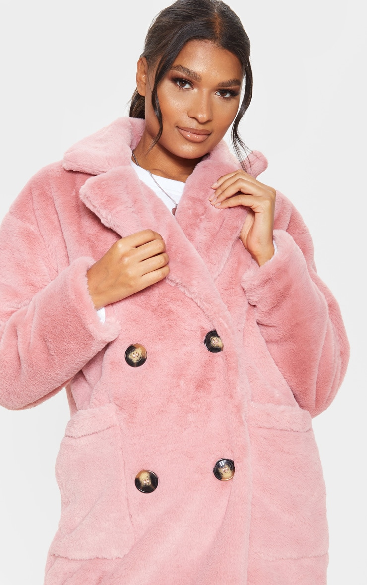 Rose Faux Fur Double Breasted Button Detail Coat 5