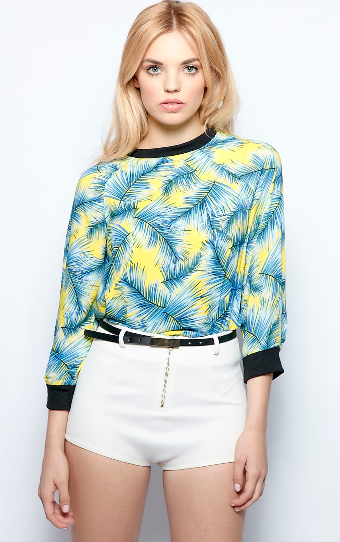 Mina Silk Chiffon Palm Print Top 4