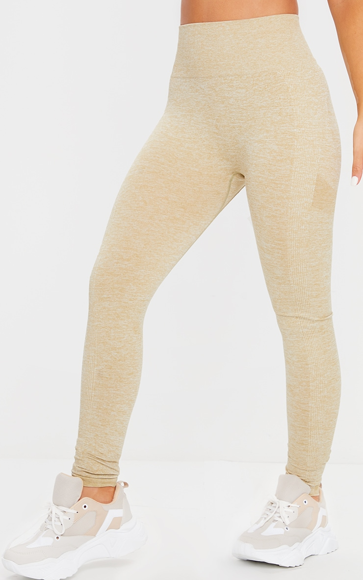 PRETTYLITTLETHING Olive Sport Ruched Bum Seamless Leggings 2