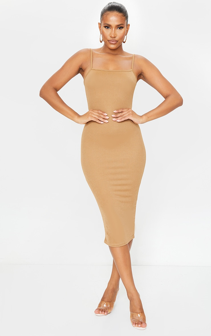 Chestnut Strappy Midi Dress 1