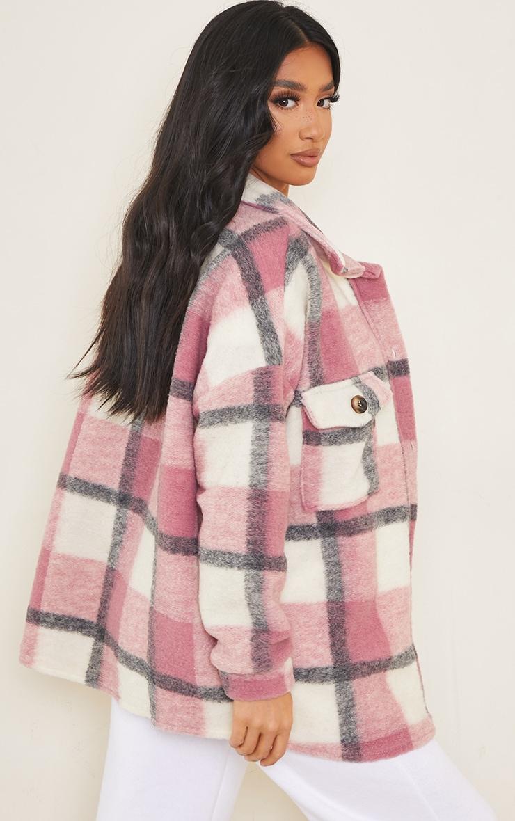 Petite Pink Brushed Check Oversized Shacket 2