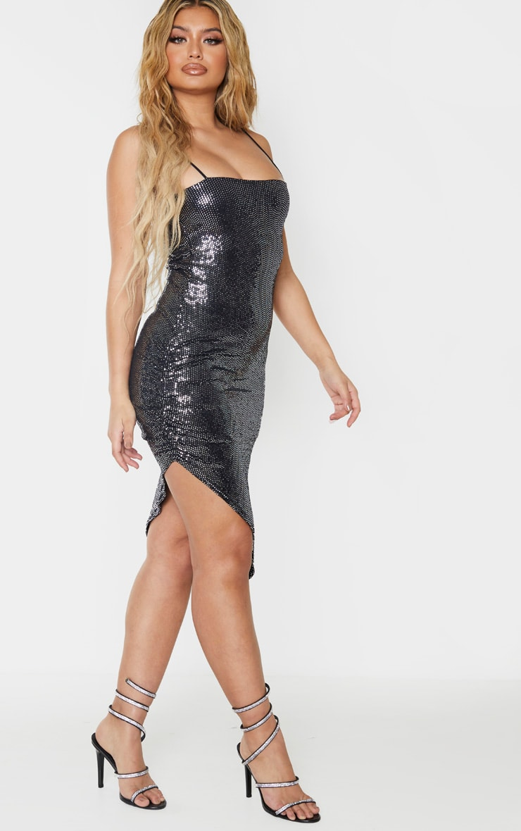 Silver Strappy Glitter Ruched Side Detail Midi Dress 4