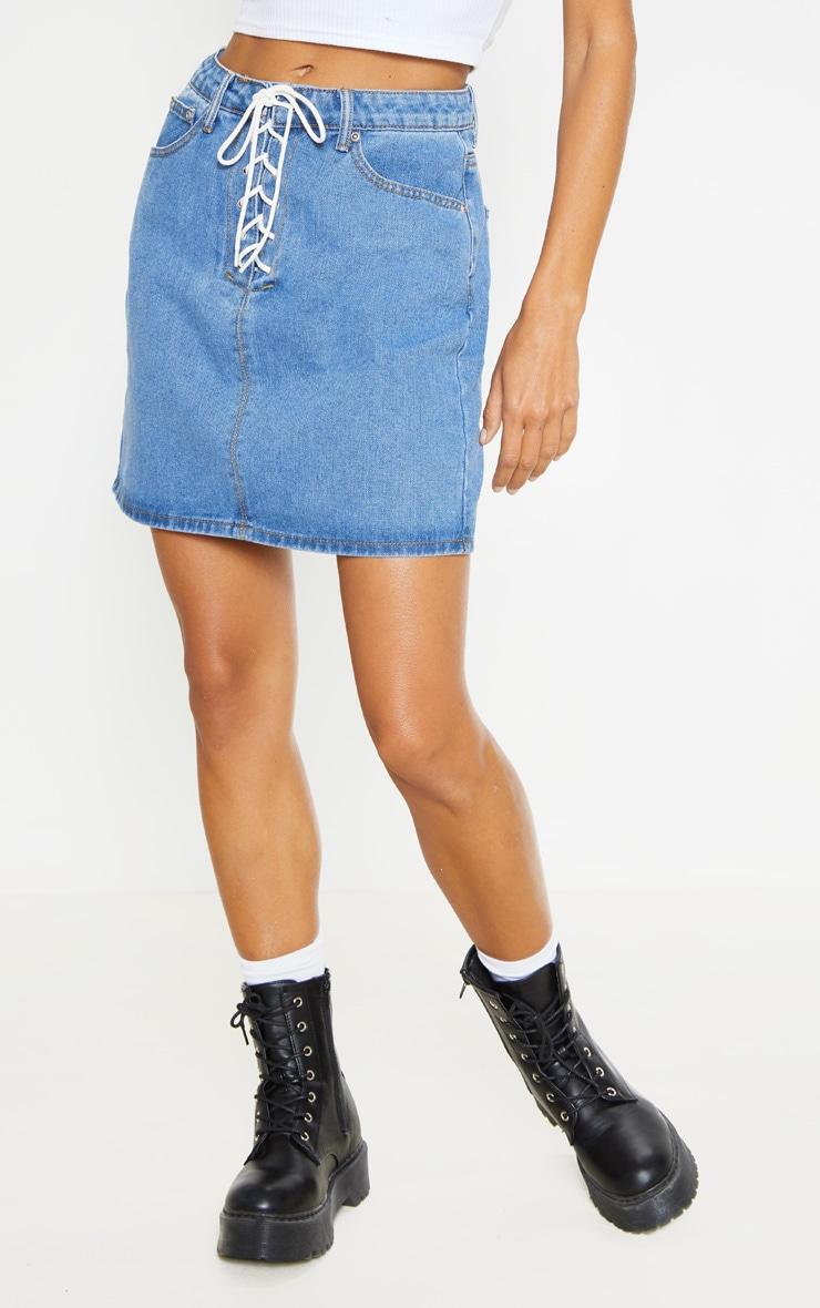 Mid Wash Lace Up Front Denim Mini Skirt 2