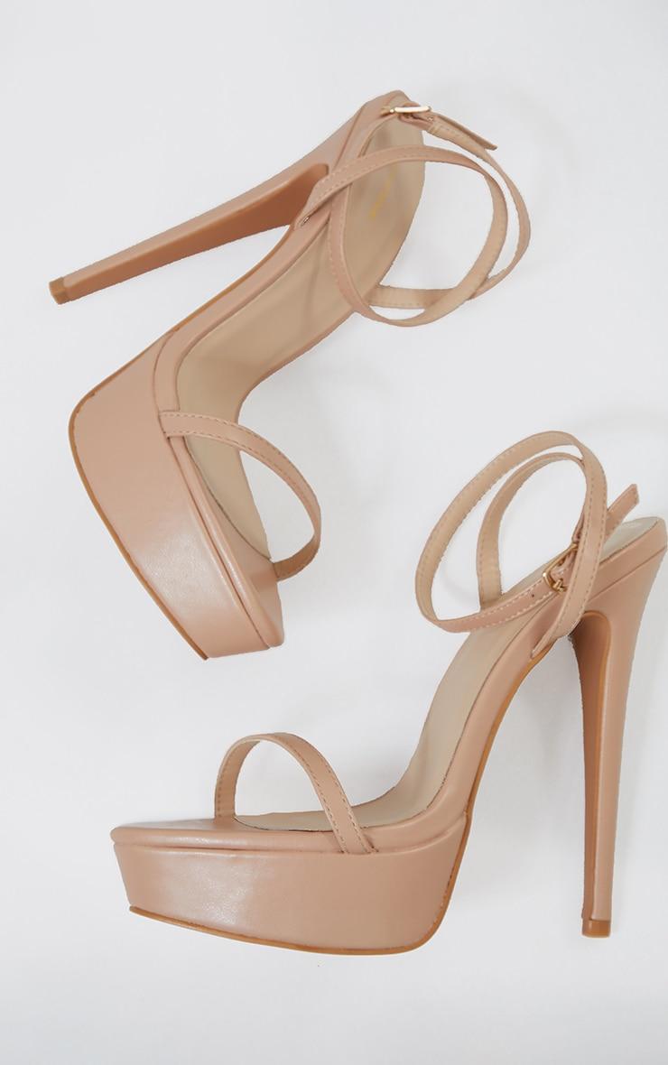 Nude Pu Platform Strappy High Heels 4