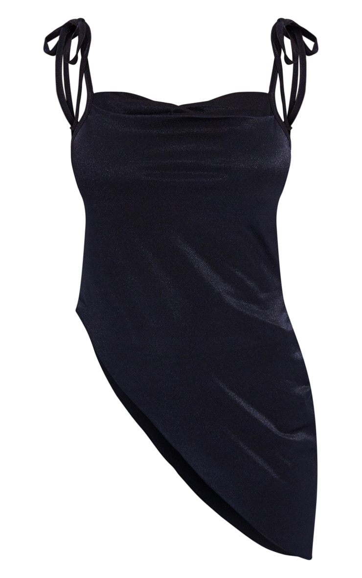 Black Stretch Satin Ruched Asymmetric Hem Cami 5