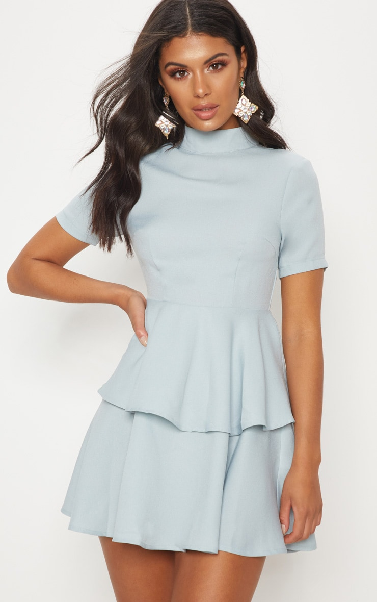 Dusty Blue Cap Sleeve Tiered Skater Dress