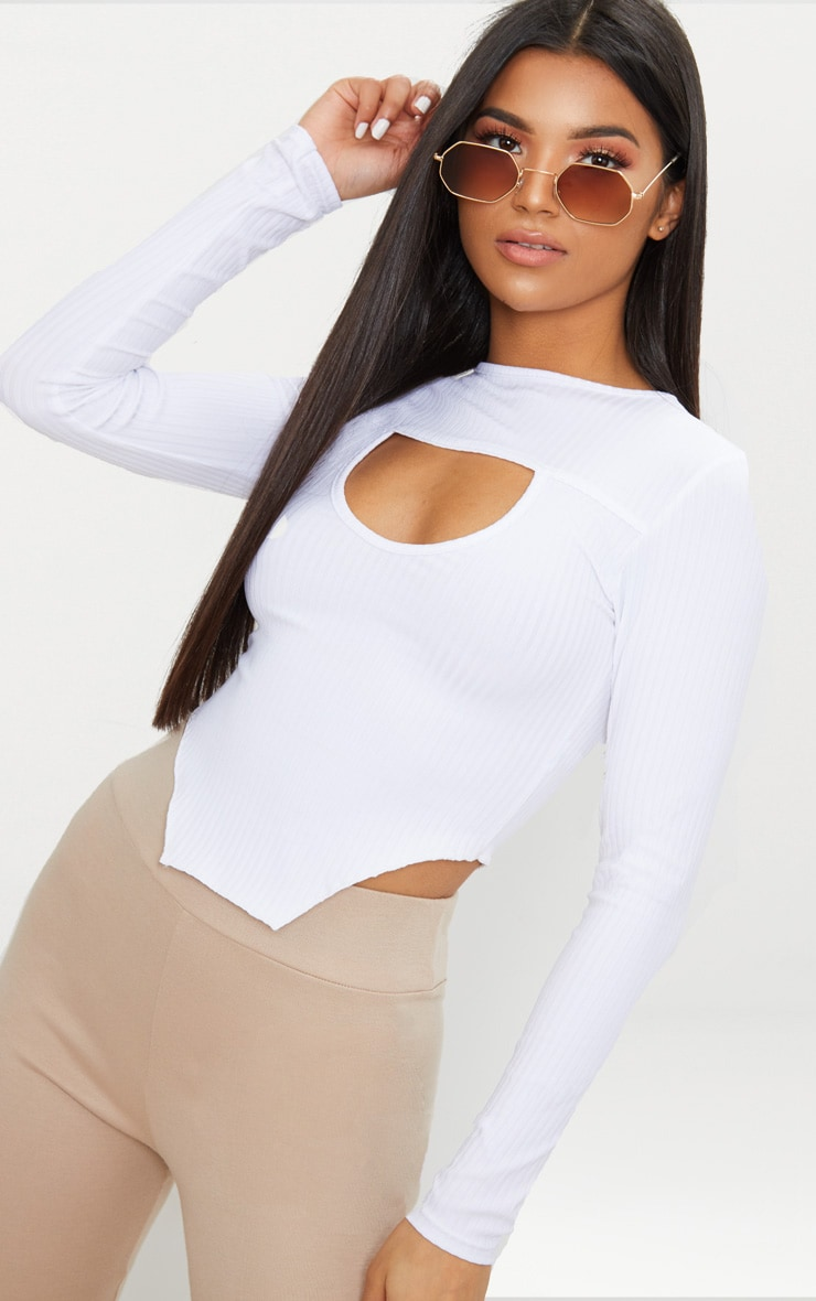 White Rib Cut Out Front Long Sleeve Crop Top  1
