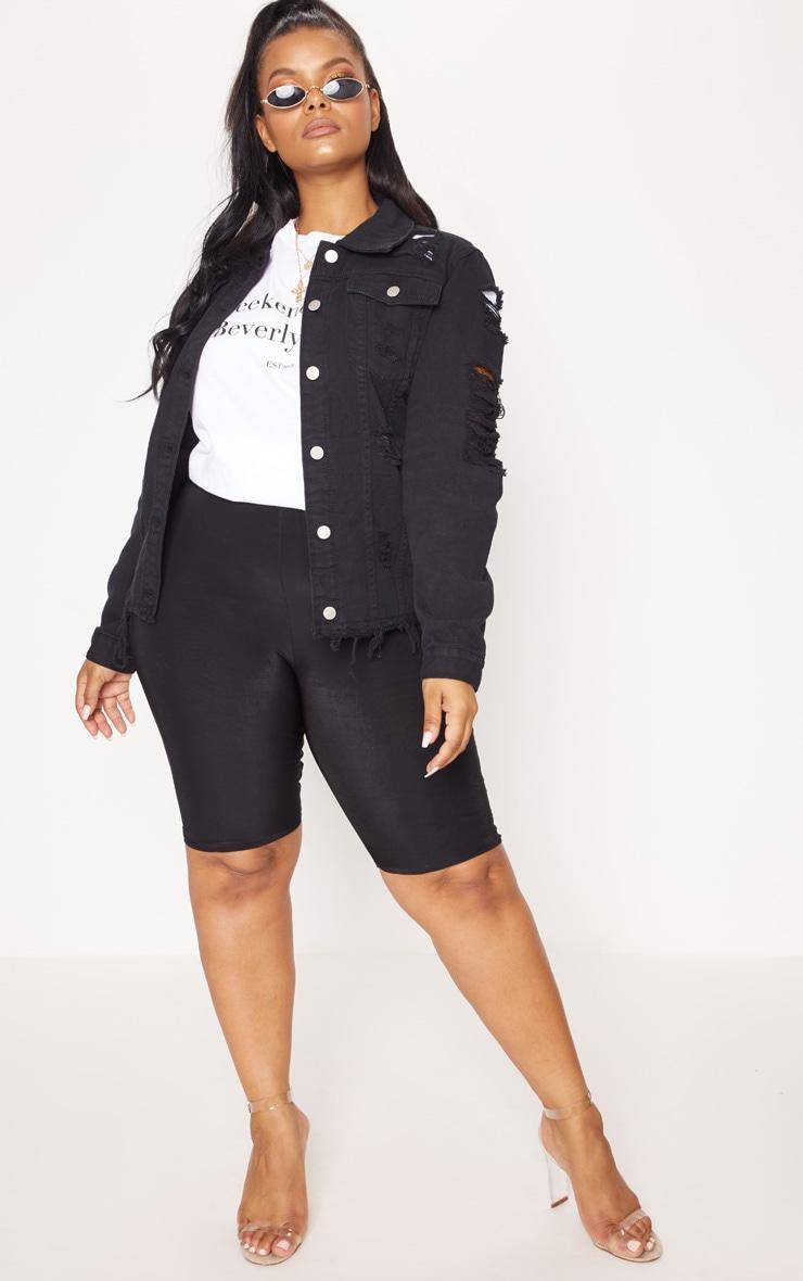 Plus Black Distressed Oversized Denim Jacket 4