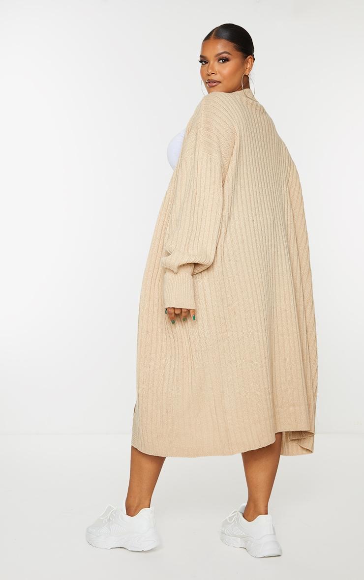 Plus Stone Ribbed Knit Midi Cardigan 2