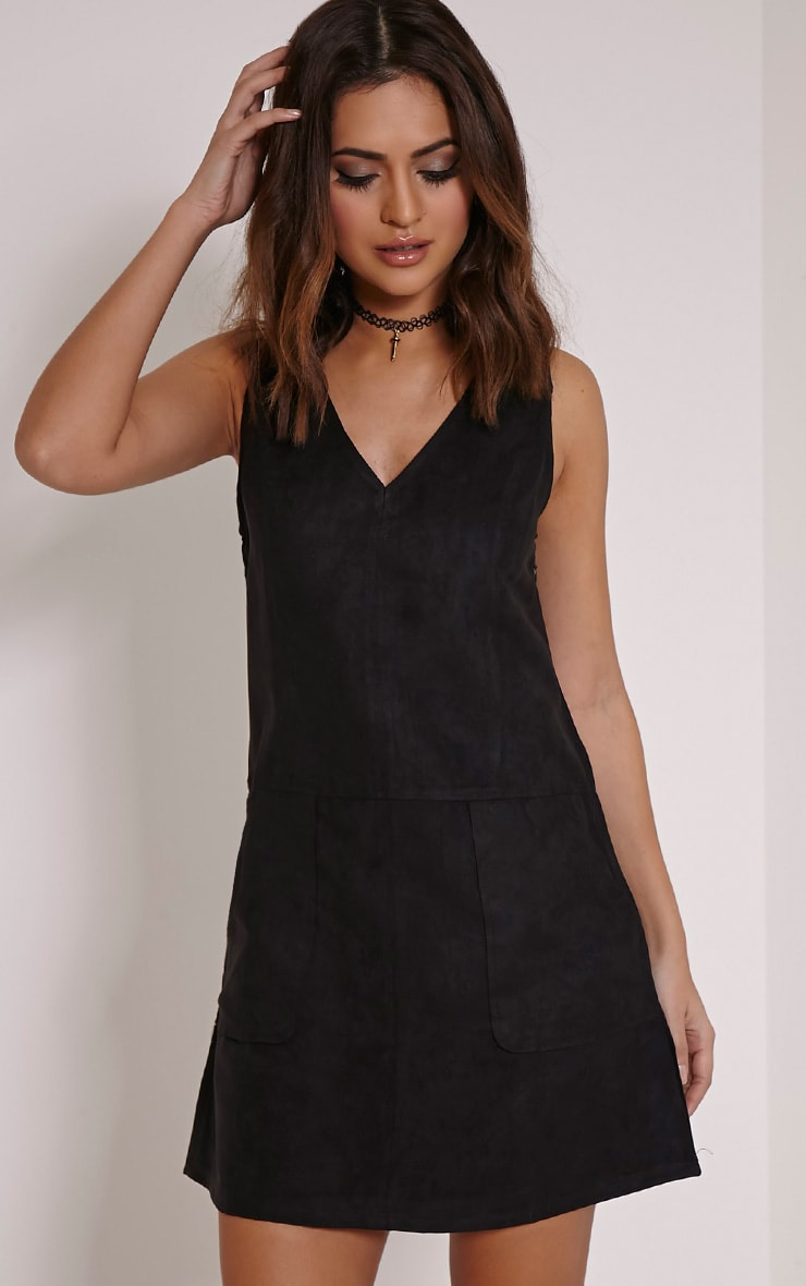 Amerie Black Faux Suede A-Line Shift Dress 1