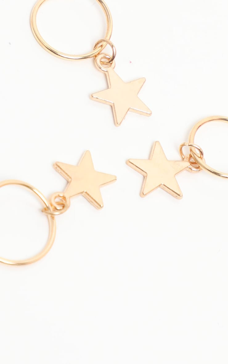 Gold Five Pack Stars Hair Rings 2
