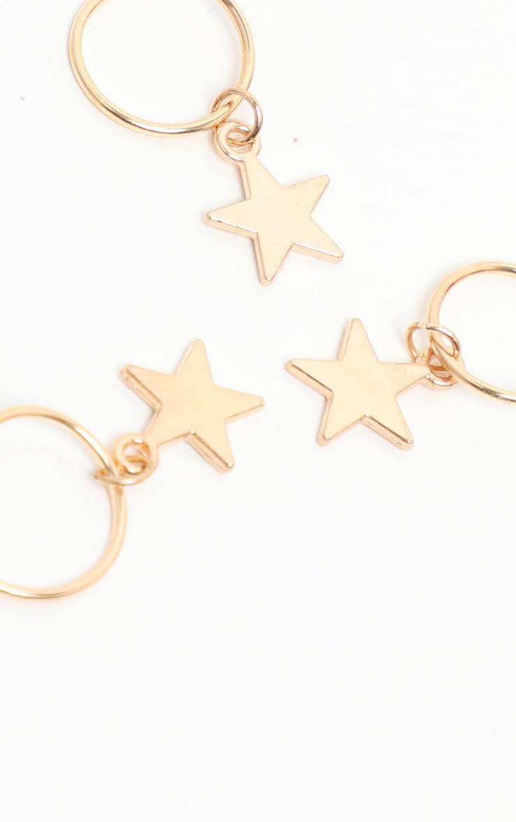 Gold Five Pack Stars Hair Rings 2