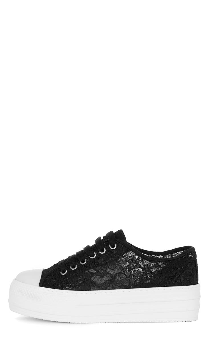 Gloria Black Lace Plimsoll Flatform 1