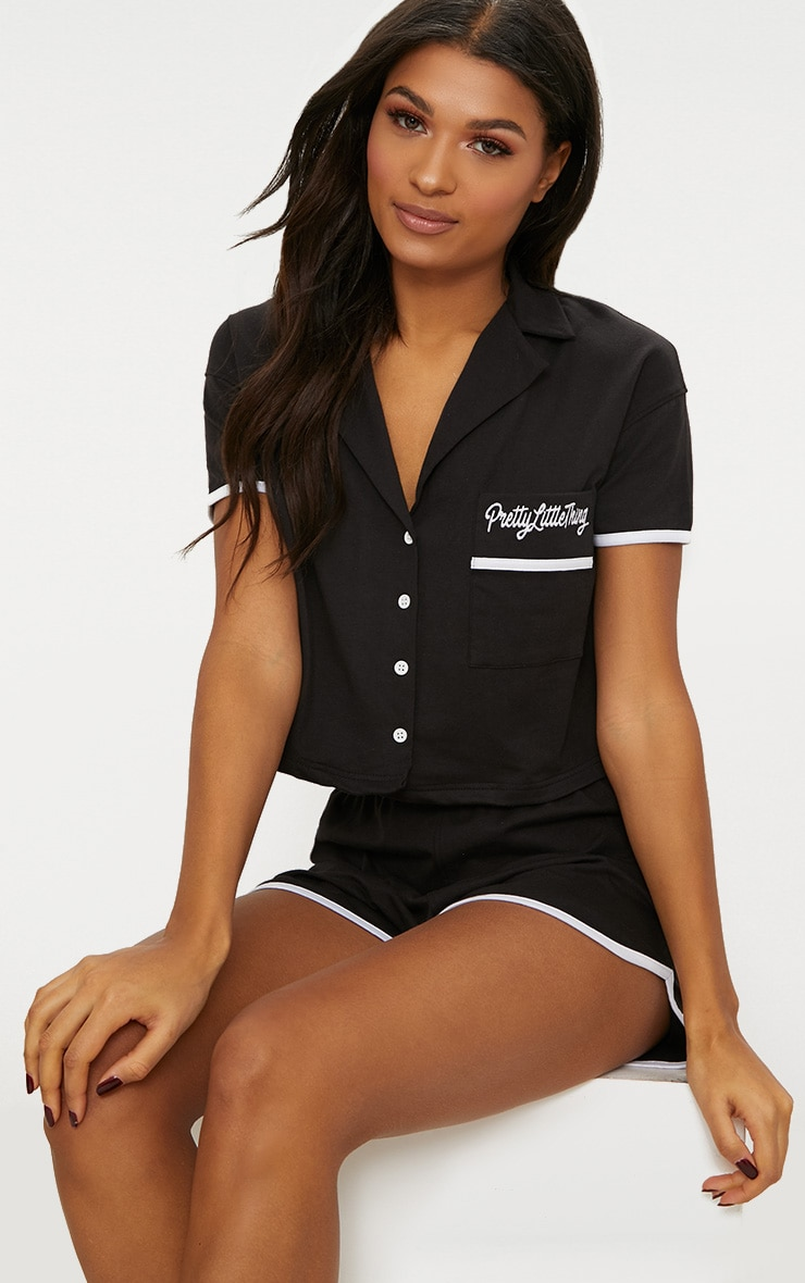 PRETTYLITTLETHING Black Embroidered Short PJ Set 1