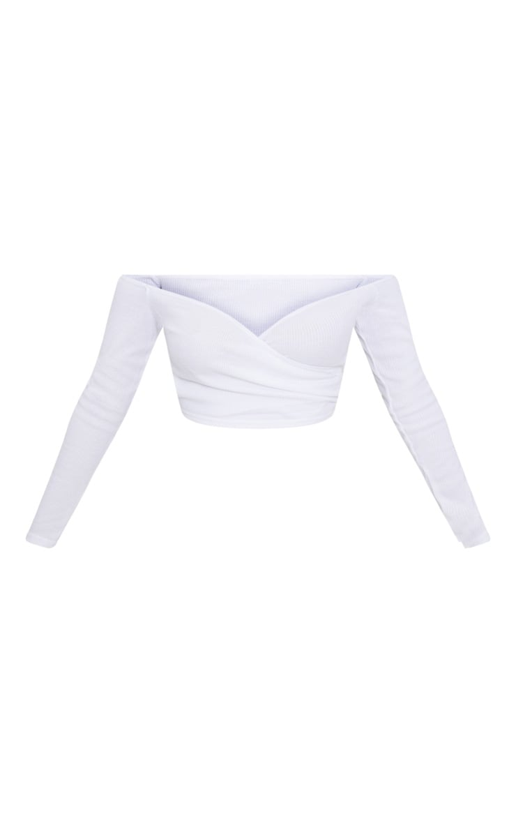 Shape White Wrap Bardot Ribbed Crop Top 3