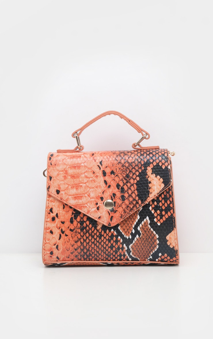 Orange Snake Envelope Mini Cross Body Bag  2