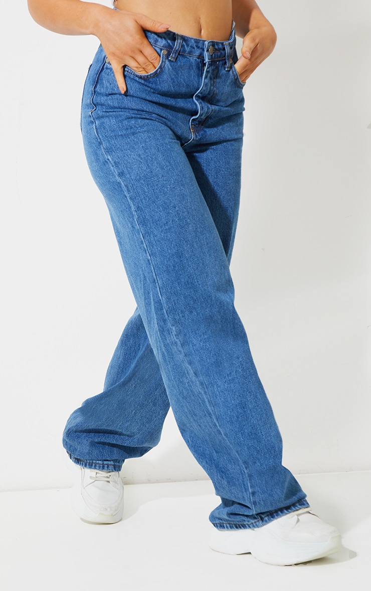 Recycled Mid Blue Wash Wide Leg Jeans 2