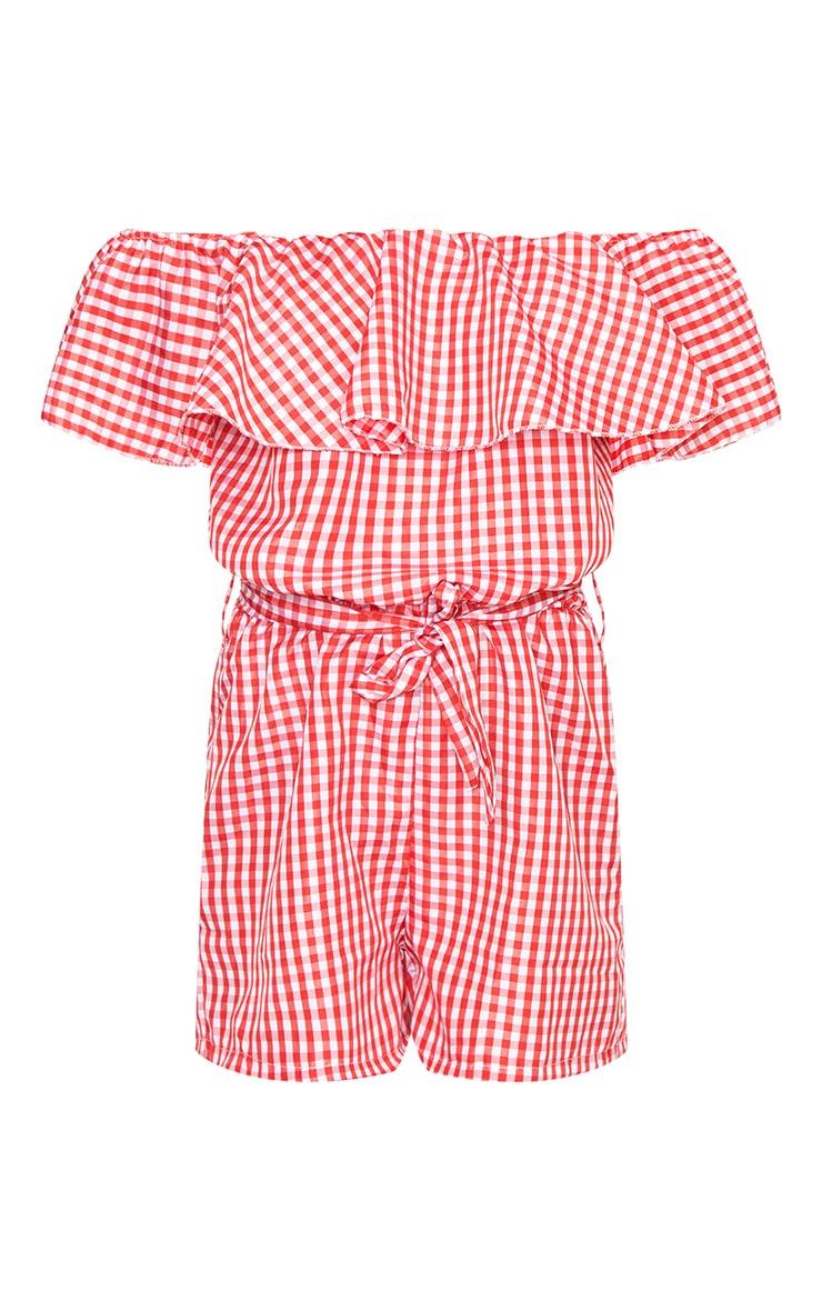 Red Gingham Bardot Shirt Playsuit 3