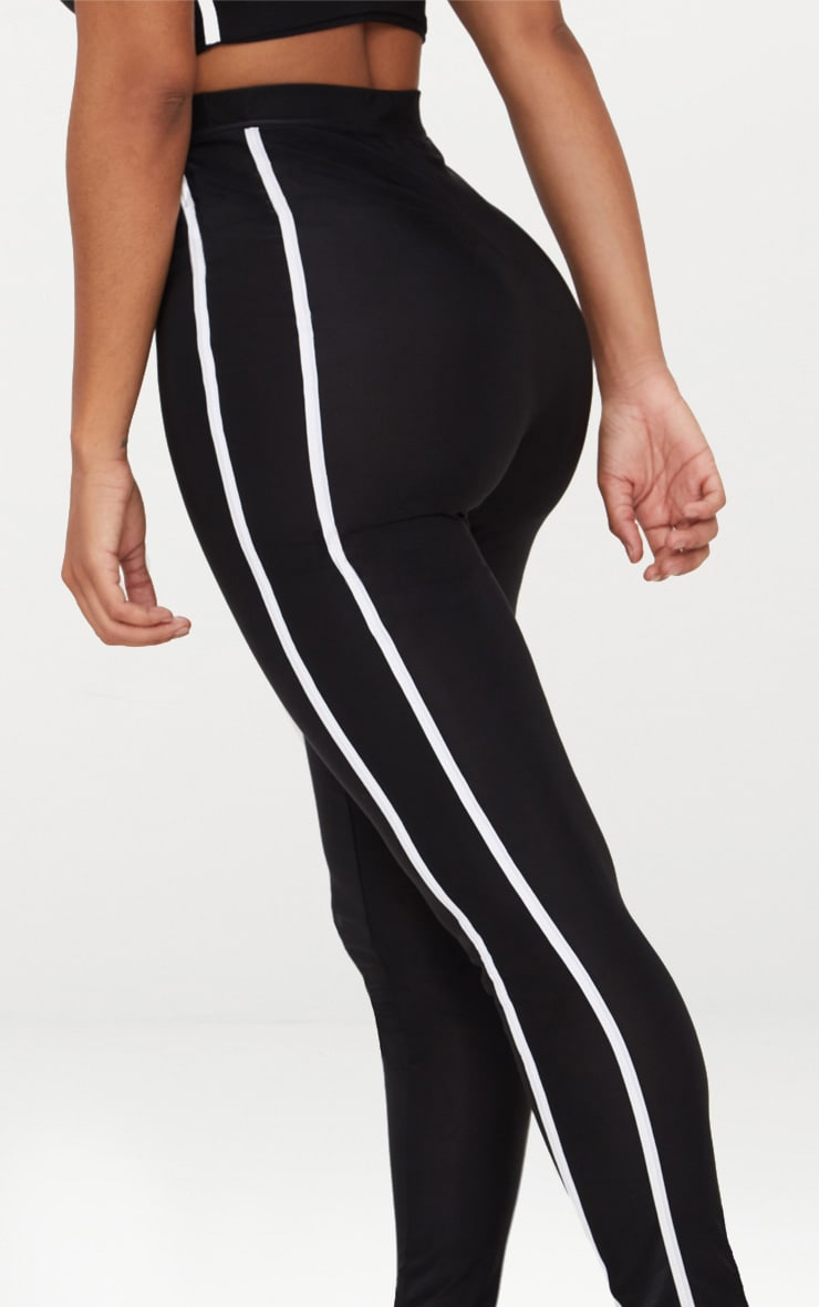 Shape Black Sports Stripe High Waisted Leggings 5