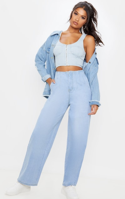 Light Wash Corset Seam Detail High Waisted Mom Jeans