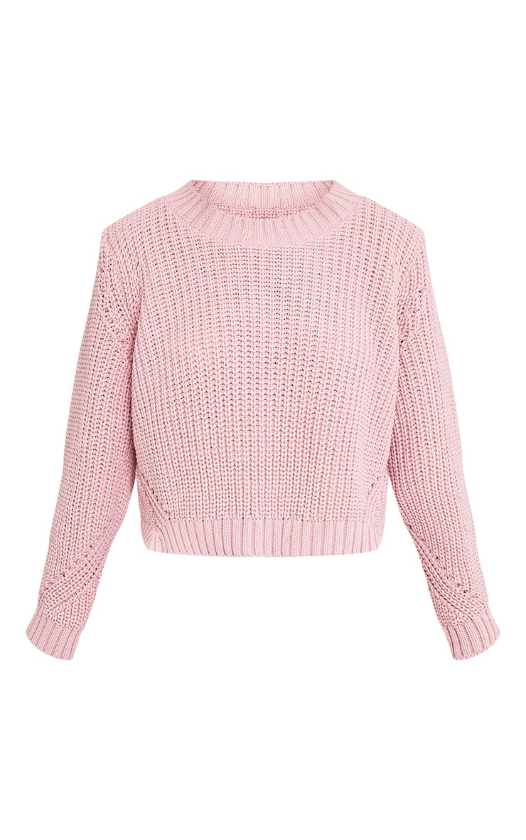Aine pull court tricoté style pêcheur rose pâle 3