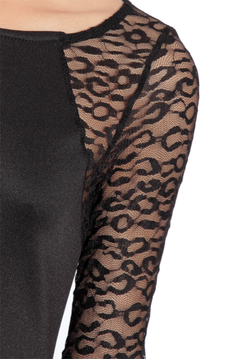 Amina Black Leopard Sleeve Dress 5