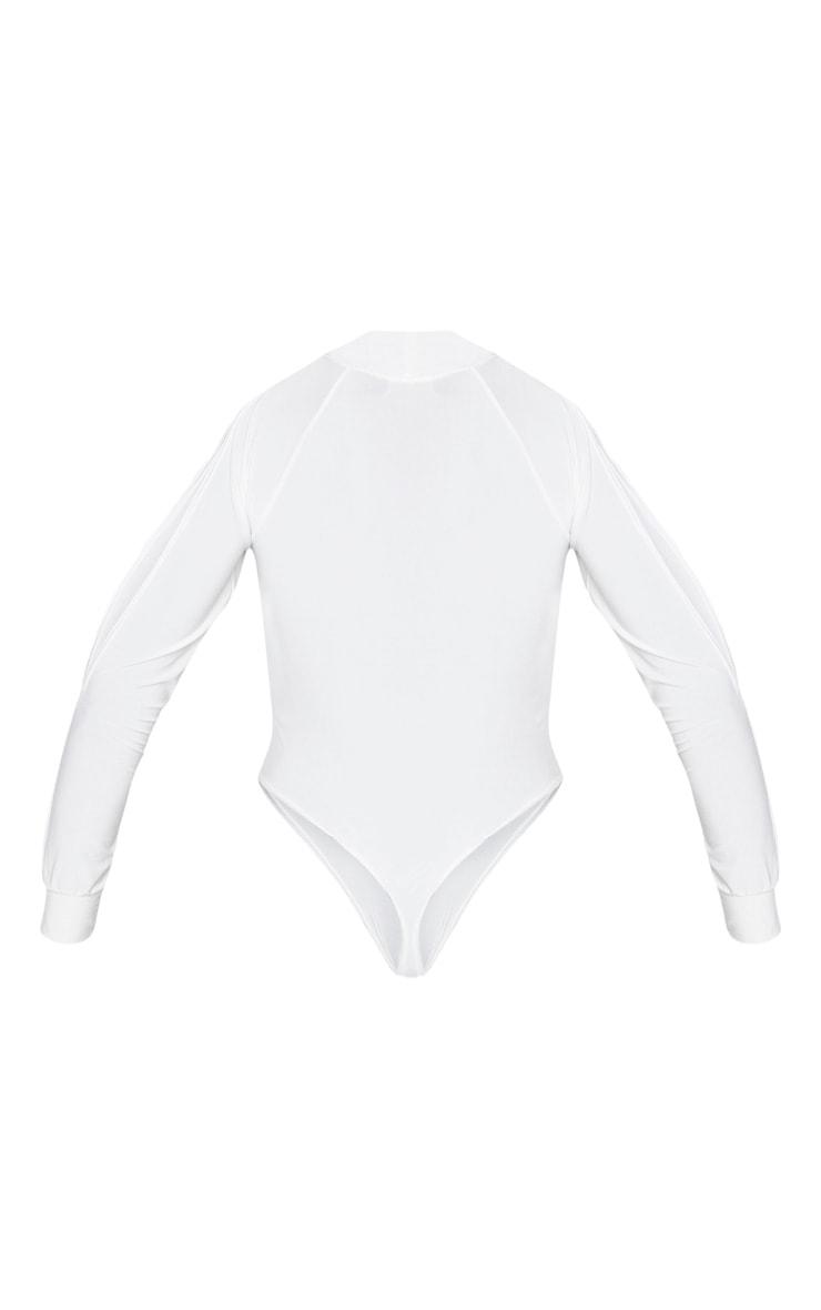 White Slinky Split Long Sleeve Bodysuit 4