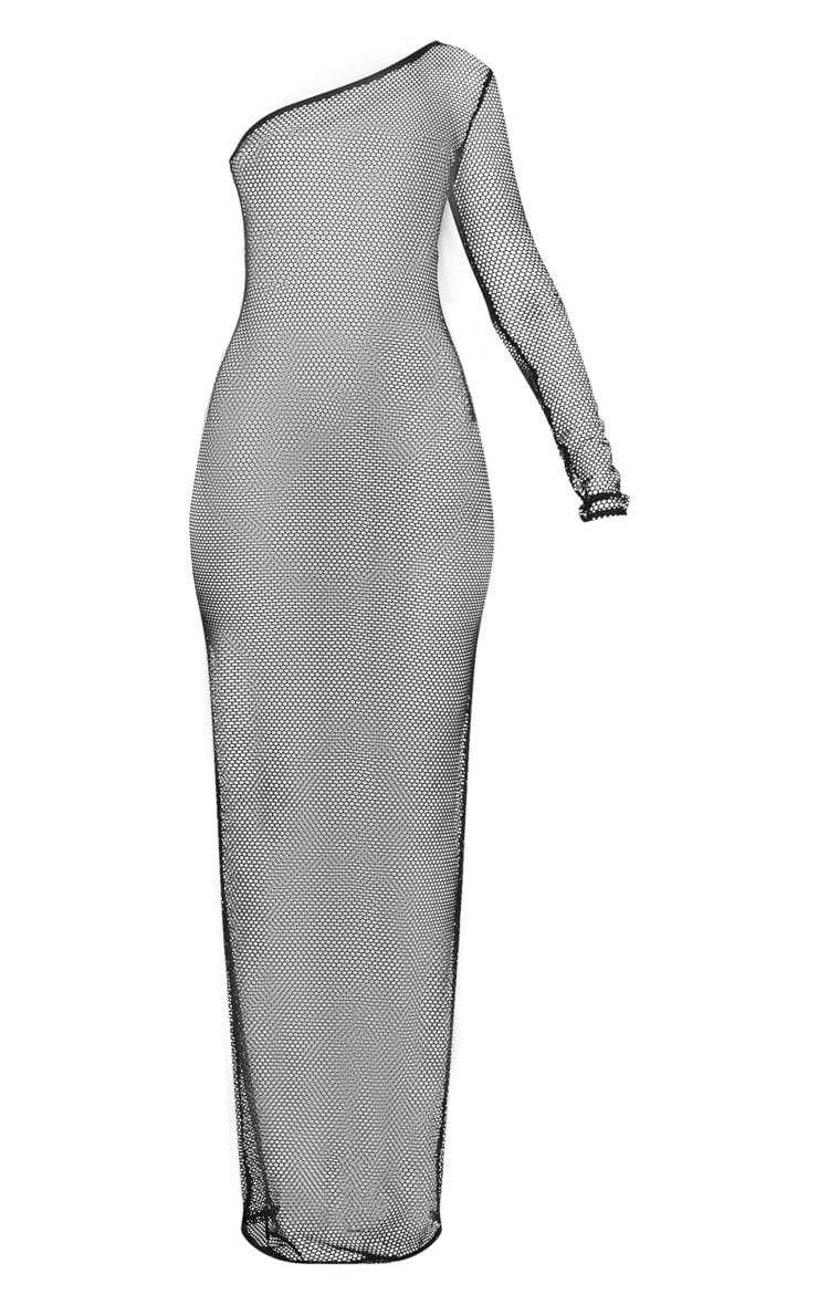 Black Fishnet One Sleeve Beach Dress 3