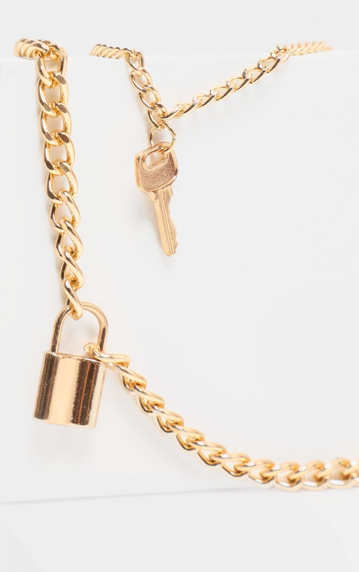 Gold Lock And Key Layering Necklace 4