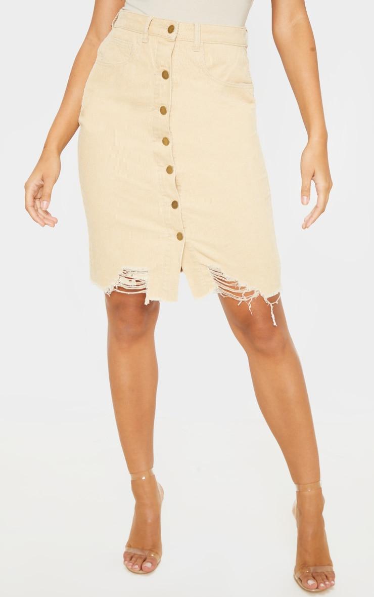 Stone Cord Button Through Distressed Denim Midi Skirt  2