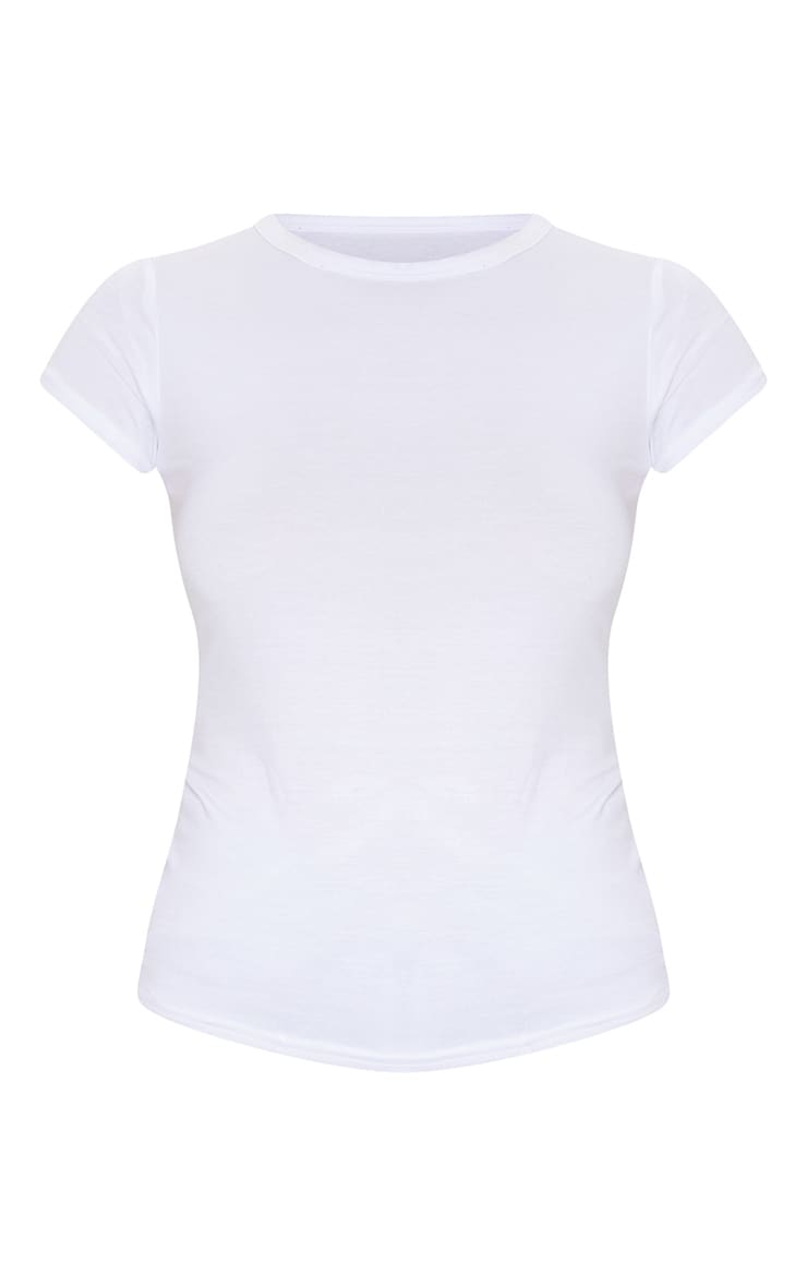 Basic White Crew Neck Fitted T Shirt 5