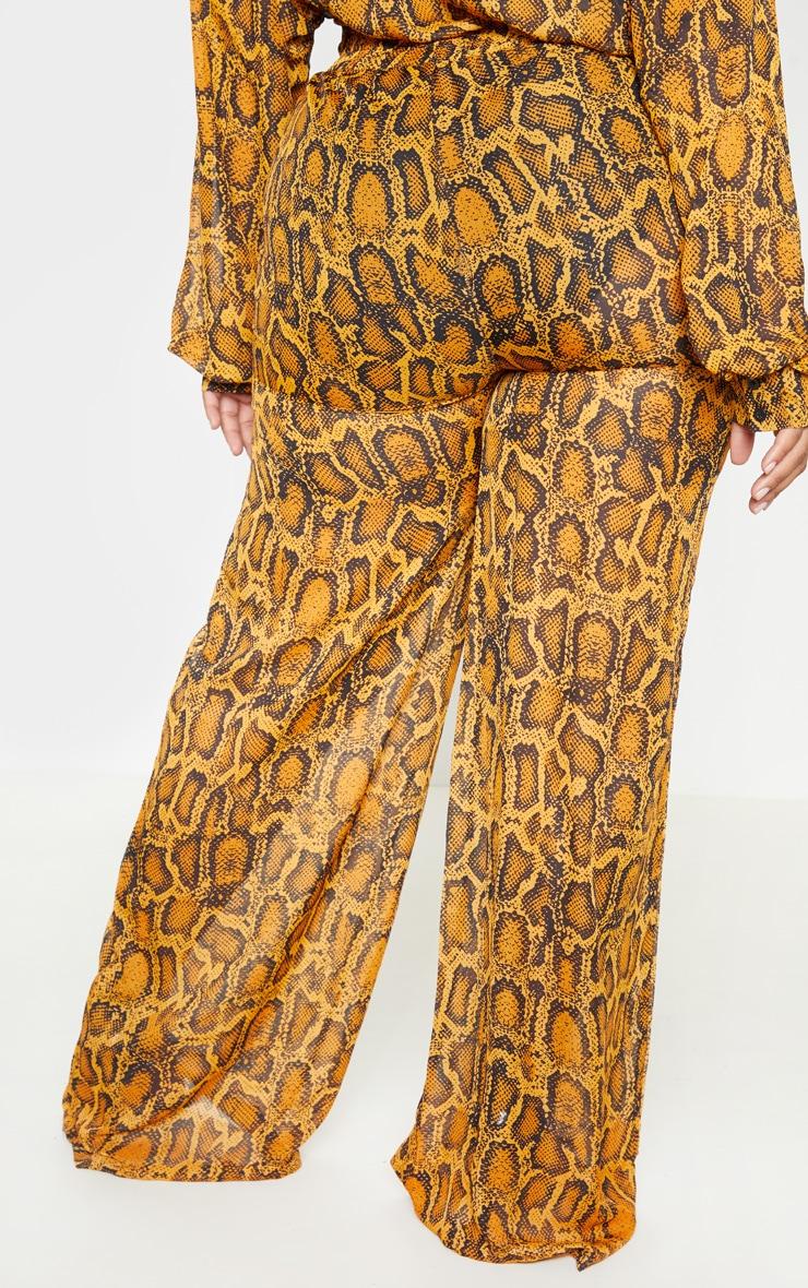 Plus Orange Sheer Snake Print High Waisted Wide Leg Trouser  4