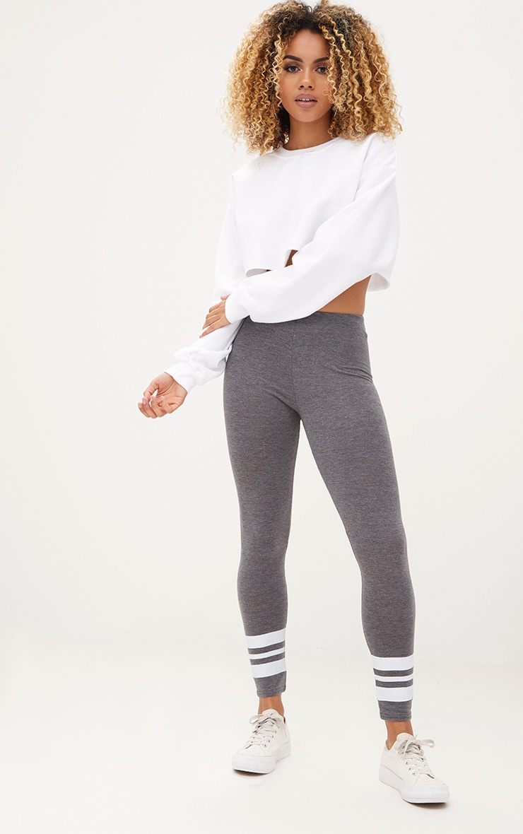 Charcoal Track Stripe Cuff Leggings 1