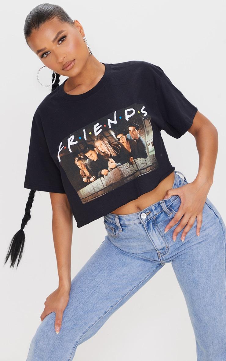 Black Printed Friends Crop T Shirt 1