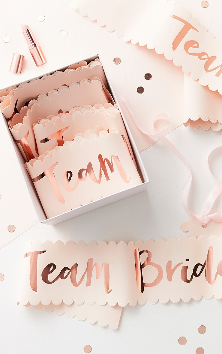 Lot de 6 écharpes rose gold à slogan Team Bride 2