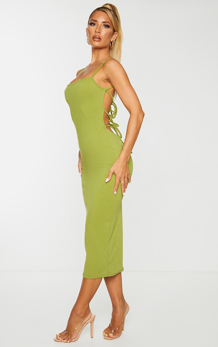 Olive Ribbed Double Tie Open Back Midi Dress 3