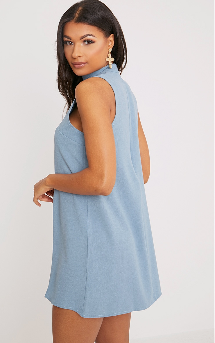 Cinder Dusty Blue Choker Detail Loose Fit Dress 2