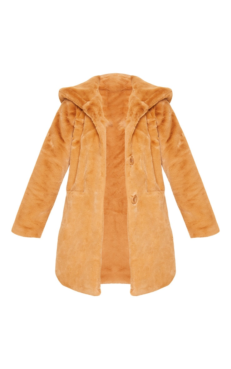 Camel Hooded Faux Fur Midi Coat 2