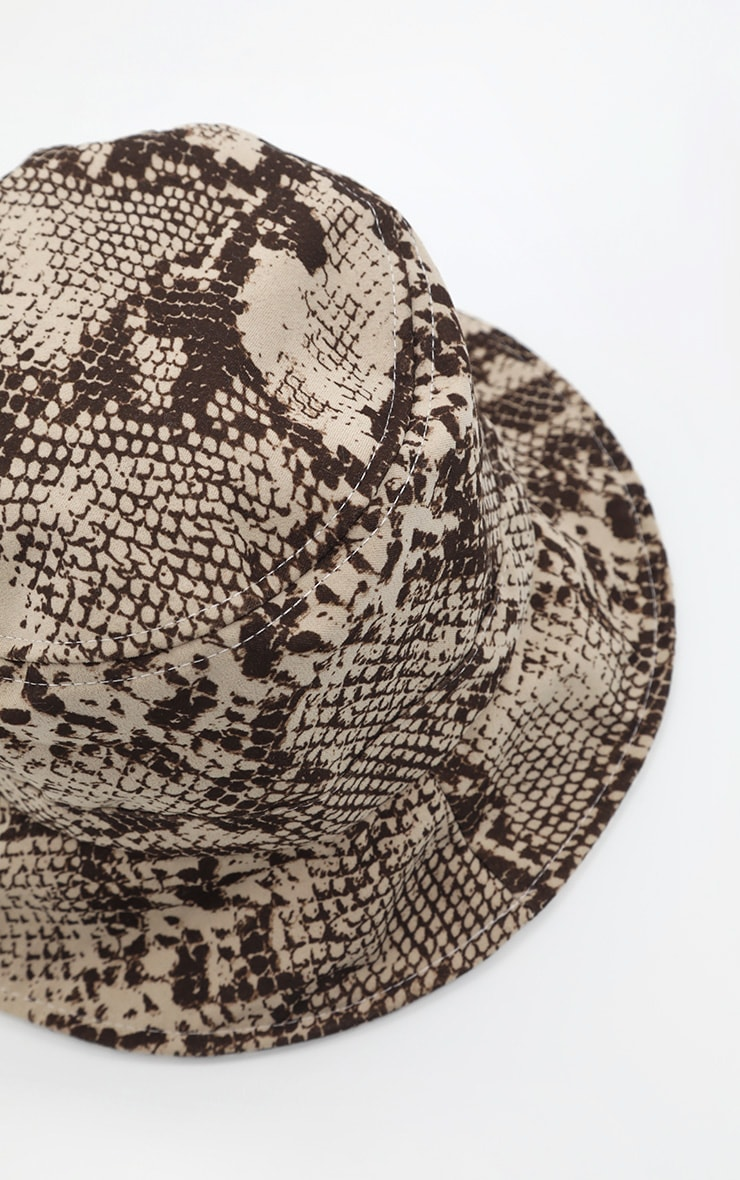 Natural Snake Print Bucket Hat 3