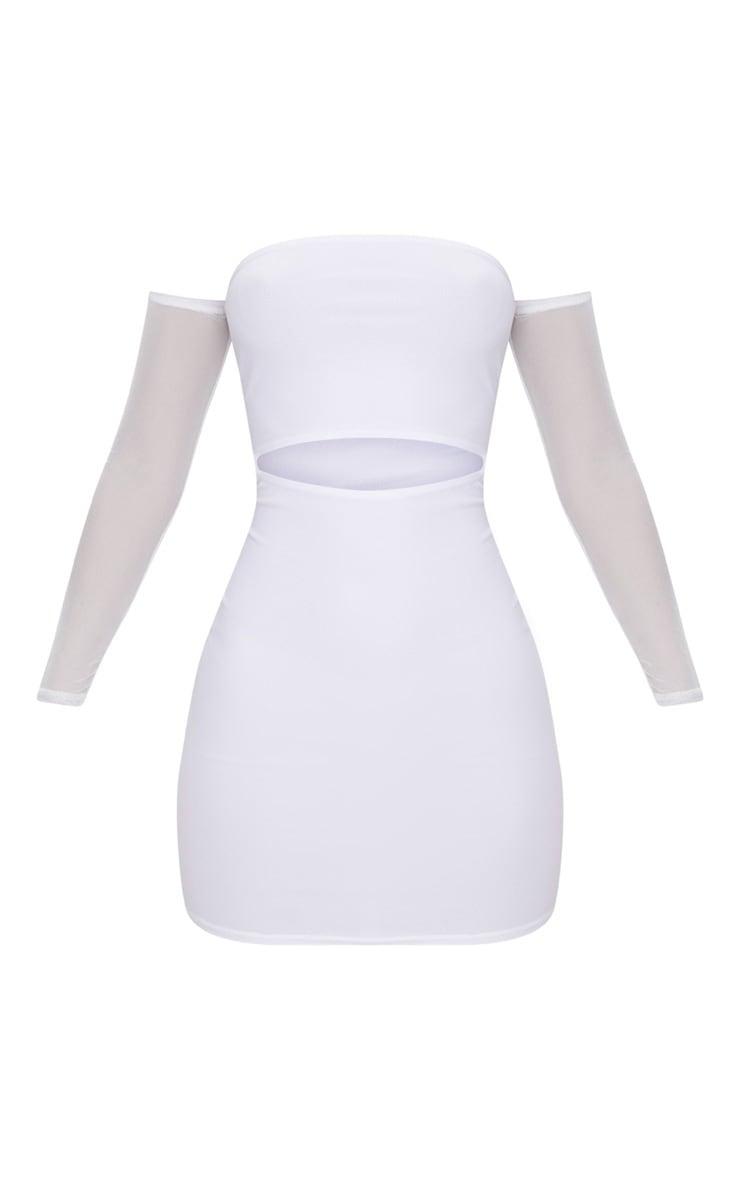 White Bardot Mesh Sleeve Bodycon Dress 3