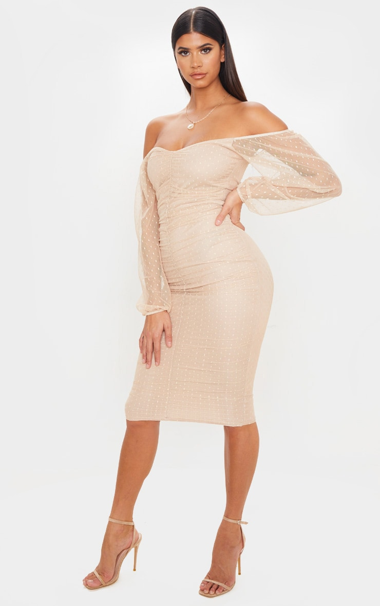Stone Dobby Mesh Ruched Front Midi Dress 4