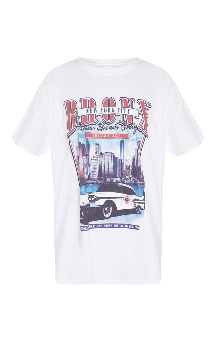 White Vintage Police Print Oversized T Shirt 6